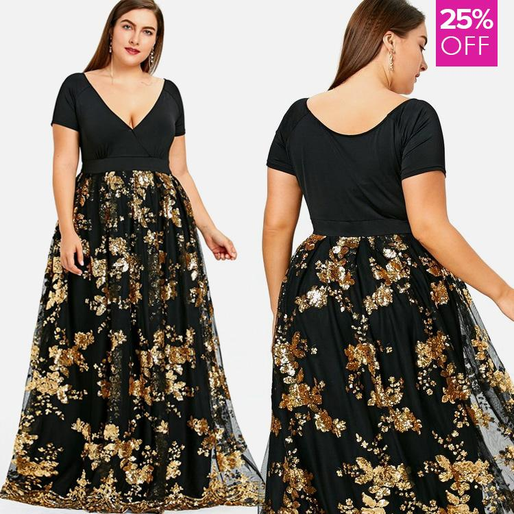 cf50f007f1c Plus Size Sparkling Gold Floral Print Maxi Cocktail Dress ...