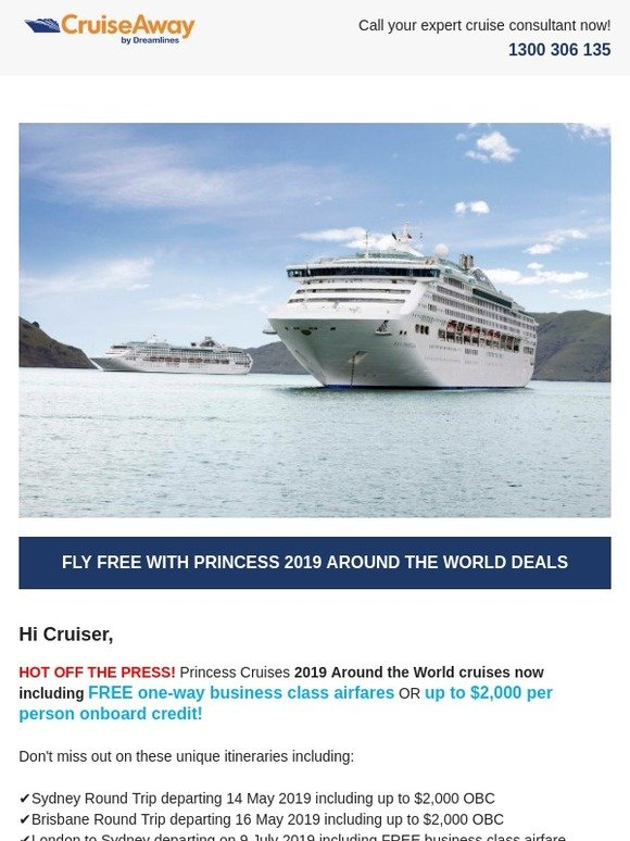 CruiseAway by Dreamlines Pty Ltd: HOT OFF THE PRESS! FLY