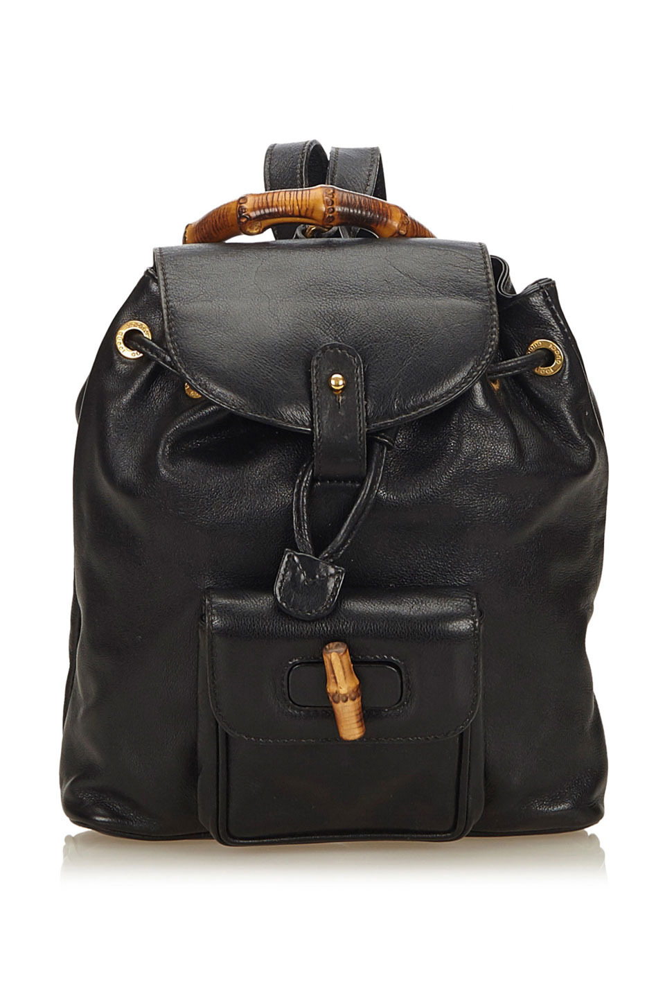 GUCCI BAMBOO LEATHER DRAWSTRING BACKPACK IN BLACK
