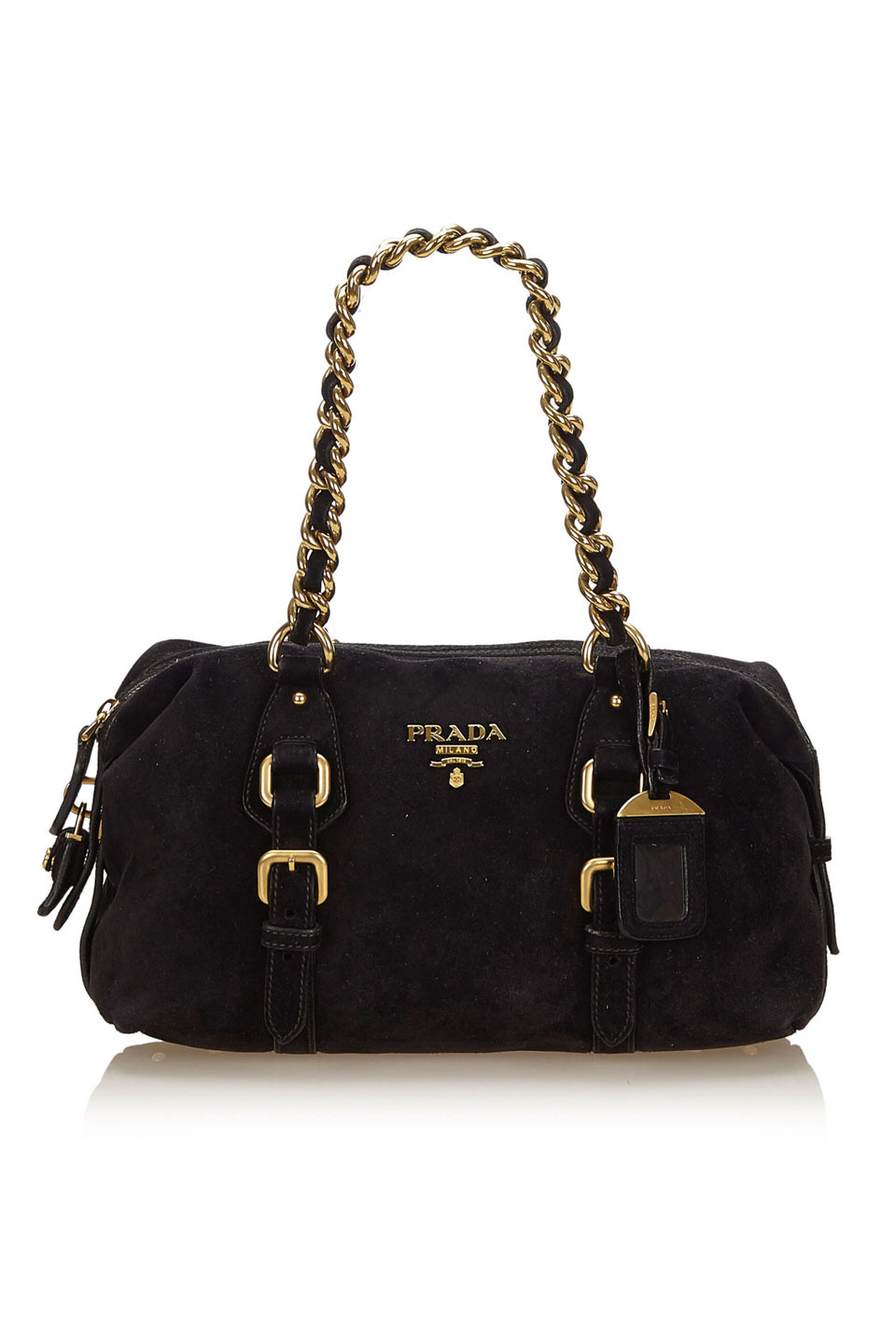 PRADA SUEDE SHOULDER BAG IN BLACK