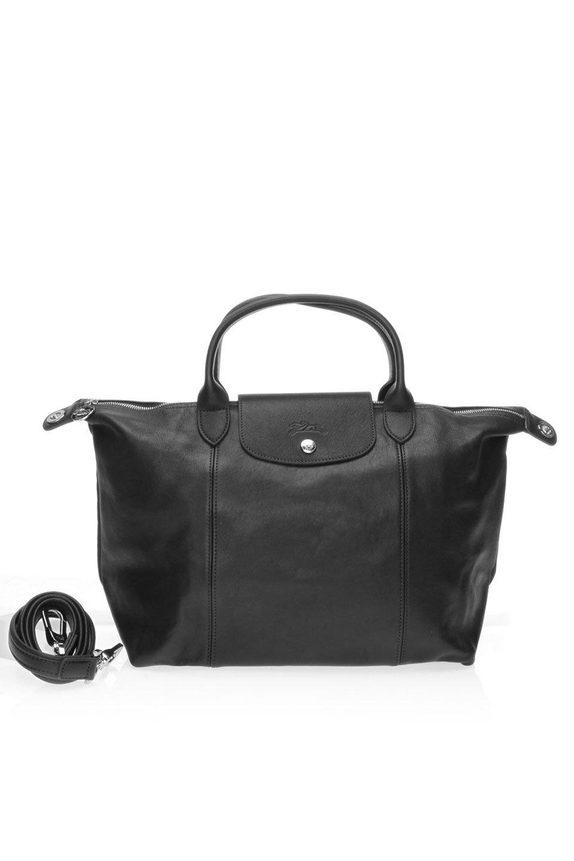 Le Pliage Cuir Top-Handle S in Black