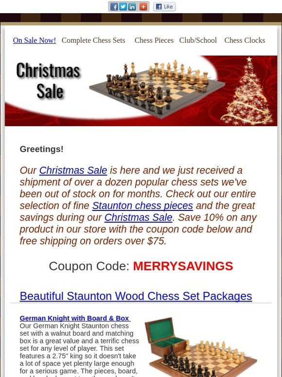 The Chess Store: Our Christmas Sale Starts - Chess Sets Back