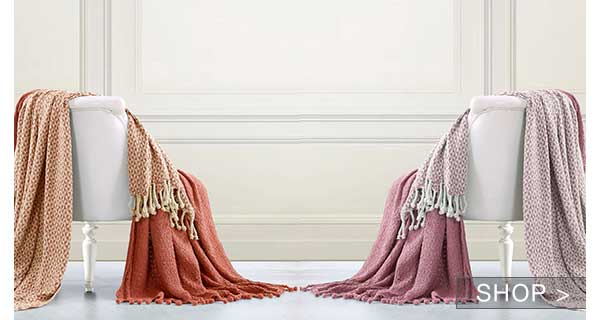 2 PACK 100% COTTON THROWS & MORE