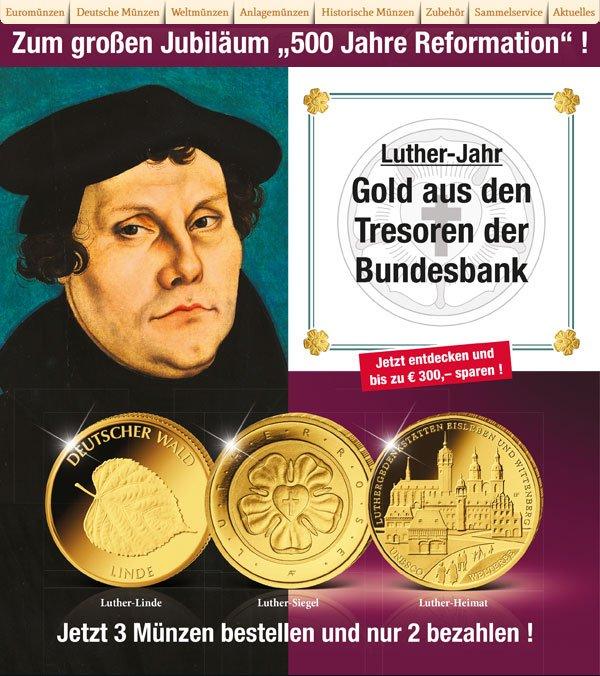 Muenzkurierde Luther Gold Gedenksatz Gold Aus Den Tresoren Der