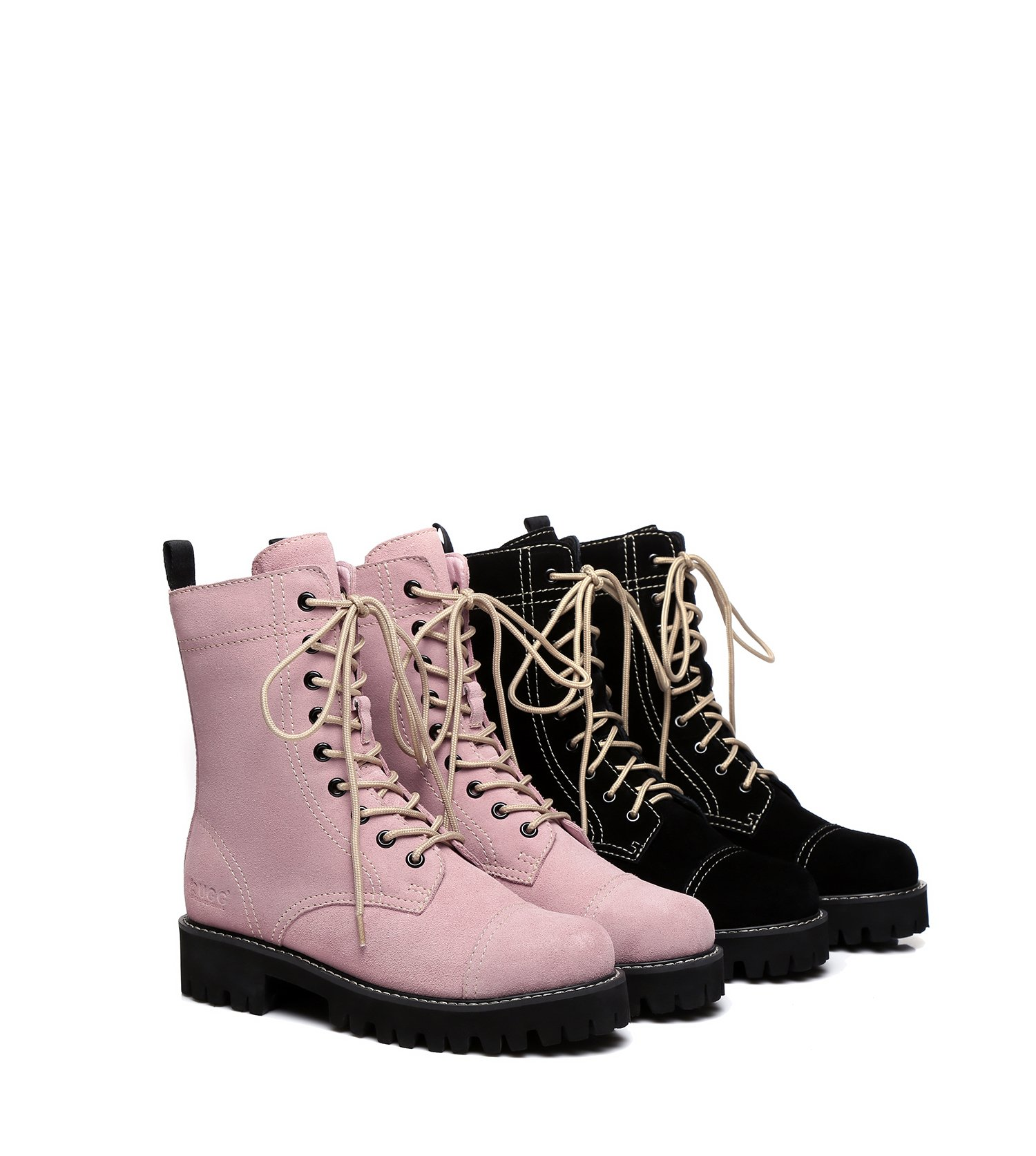 e423b935ead4ec Image of EVER UGG Boots Miss Idol - Ladies Fashion with Front Lace  Sheepskin Lining Cow