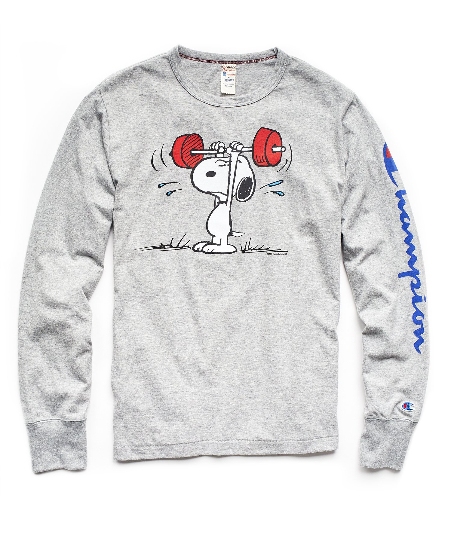 57c9c963a8c7 CHAMPION X PEANUTS LONG SLEEVE SNOOPY WEIGHTLIFTING T-SHIRT IN LIGHT GREY  MIX