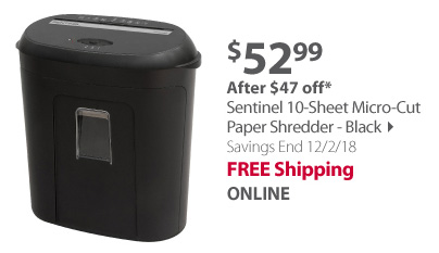 Sentinel 10-Sheet Micro-Cut Paper Shredder - Black