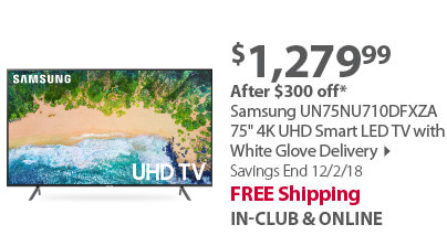 Samsung UN75NU710DFXZA 75 4K UHD Smart LED TV with White Glove Delivery