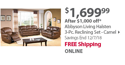 Hampton Point Bradford 3-Pc. Reclining Sofa Set - Warm Walnut
