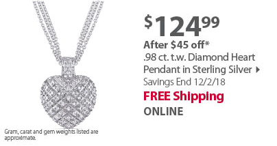 .98 ct. t.w. Diamond Heart Pendant in Sterling Silver