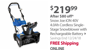 Snow Joe iON 40V 4.0Ah Cordless Single-Stage Snowblower with Rechargeable Battery