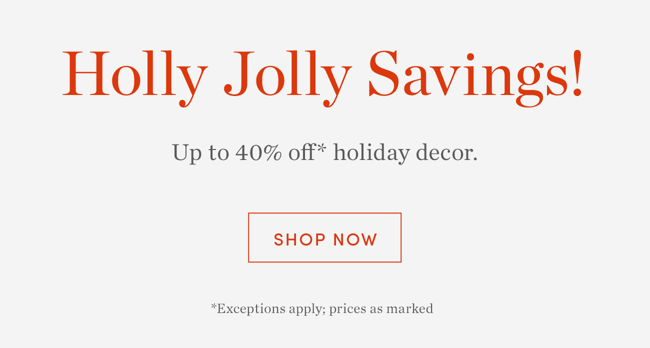 Up to 40% off* holiday decor | Shop Now >
