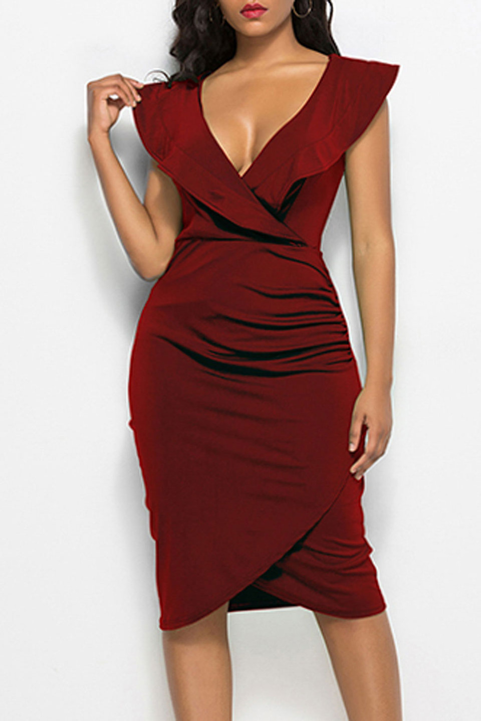V Neck Bodycon Midi Dress in Red Wine