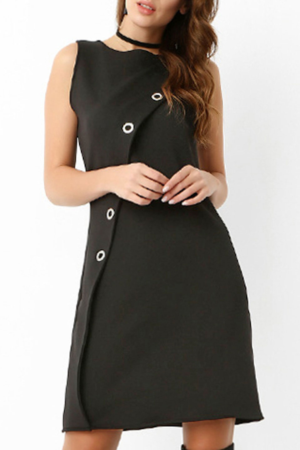 Sleeveless Button Detail Short Dress in Black