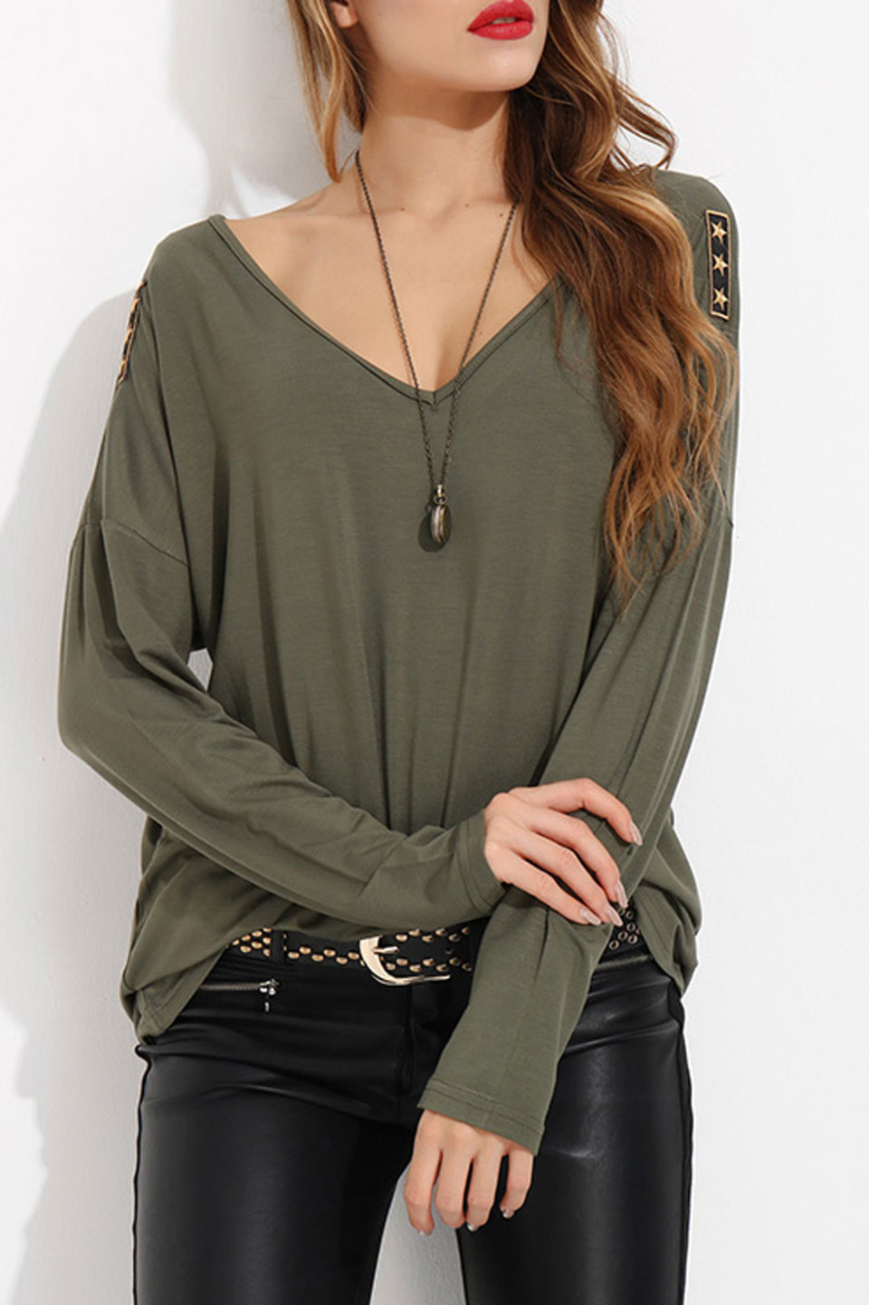 V-Neck Rigging Detail Blouse in Khaki