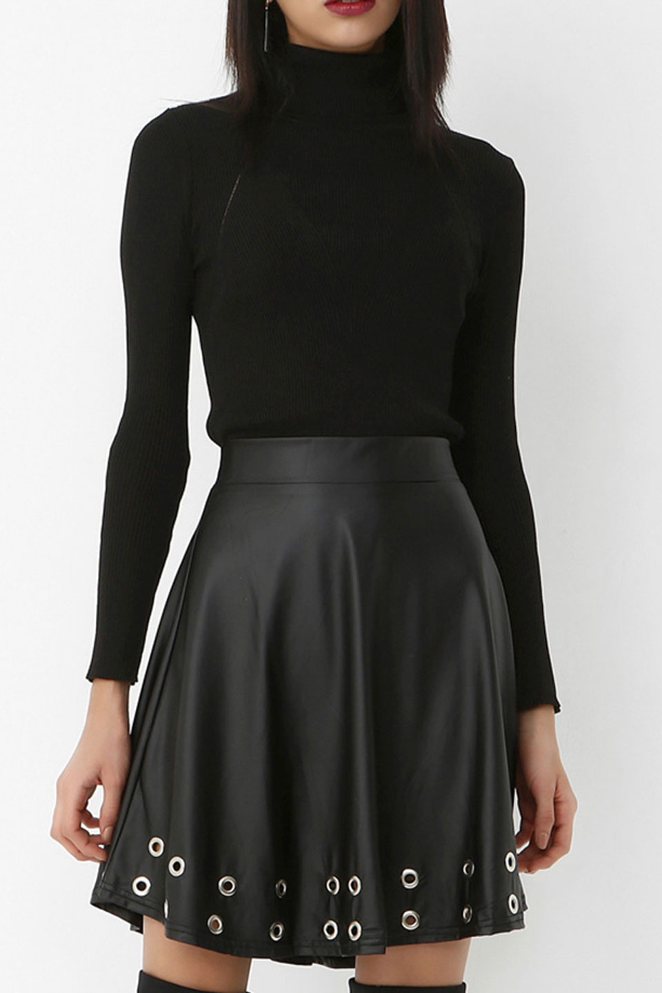 Button Detailed Leather Short Skirt in Black