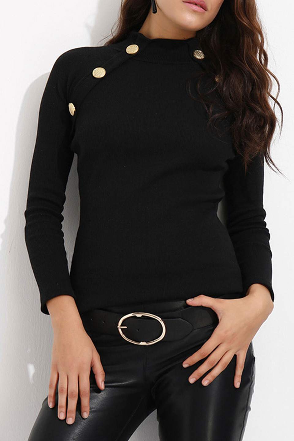 Button Detail Blouse in Black