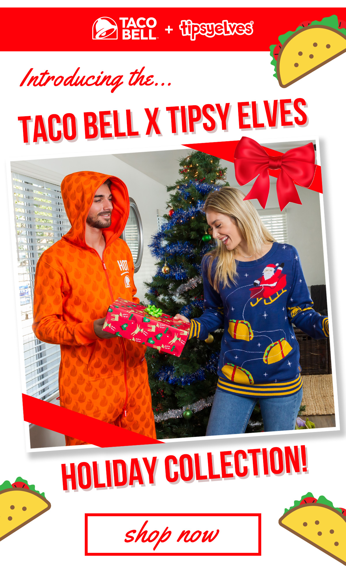 Taco Bell Christmas Eve.Tipsy Elves New Tipsy Elves X Taco Bell Holiday Sweaters