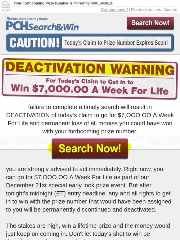 Publishers Clearing House: Mr  -Action Needed | Deadline In Effect