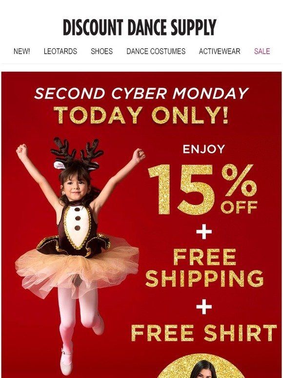Discount Dance: Second Cyber Monday! 15% Off + Free Shipping
