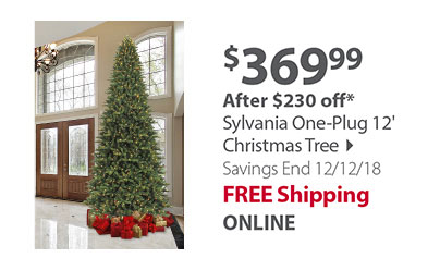 SYLVANIA - 12 Ft One-Plug 1,200 Ct M5 Faceted Color Changing LED Tree