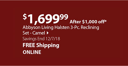 Abbyson Living Halsten 3-Pc. Reclining Set - Camel