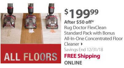 Rug Doctor FlexClean Standard Pack with Bonus All-In-One Concentrated Floor Cleaner