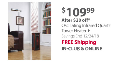 Oscillating Infrared Quartz Tower Heater