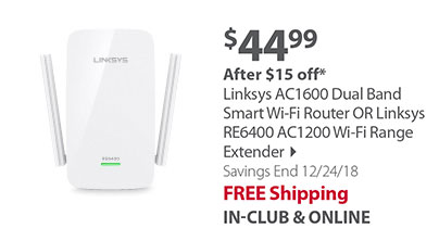 Linksys AC1600 Dual Band Smart Wi-Fi Router OR Linksys RE6400 AC1200 Wi-Fi Range Extender
