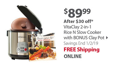 VitaClay 2-in-1 Rice N Slow Cooker with BONUS Clay Pot