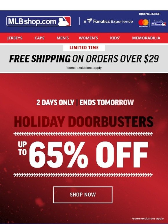 0c90a63d4 Shop MLB.com  Up to 65% Off Doorbuster Savings End Tomorrow!