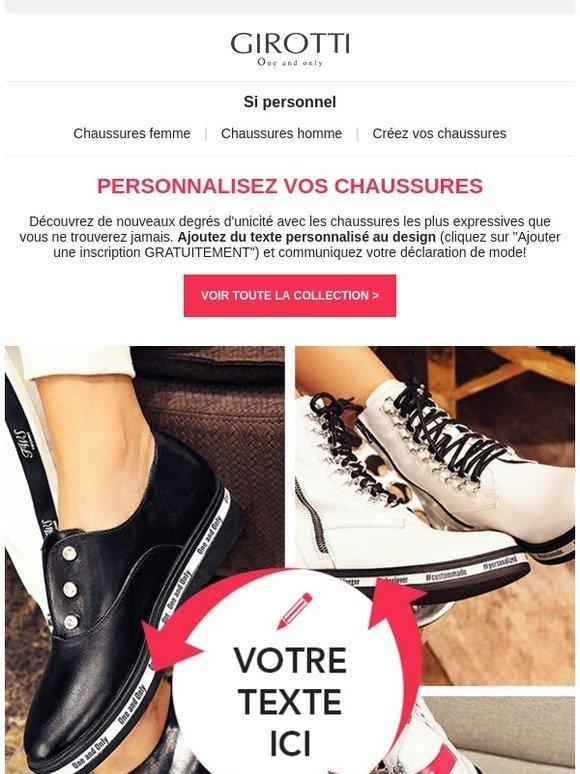 Girotti Chaussures Votre FrSi TexteMilled Avec Personnel u5lcKTF1J3