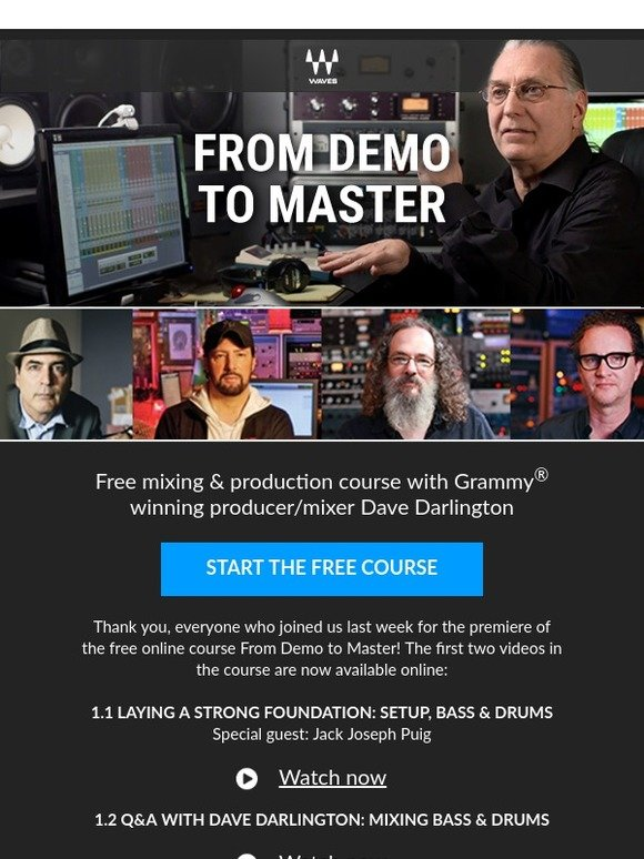 Waves Audio: Free Online Mixing Course: From Demo to Master | Milled
