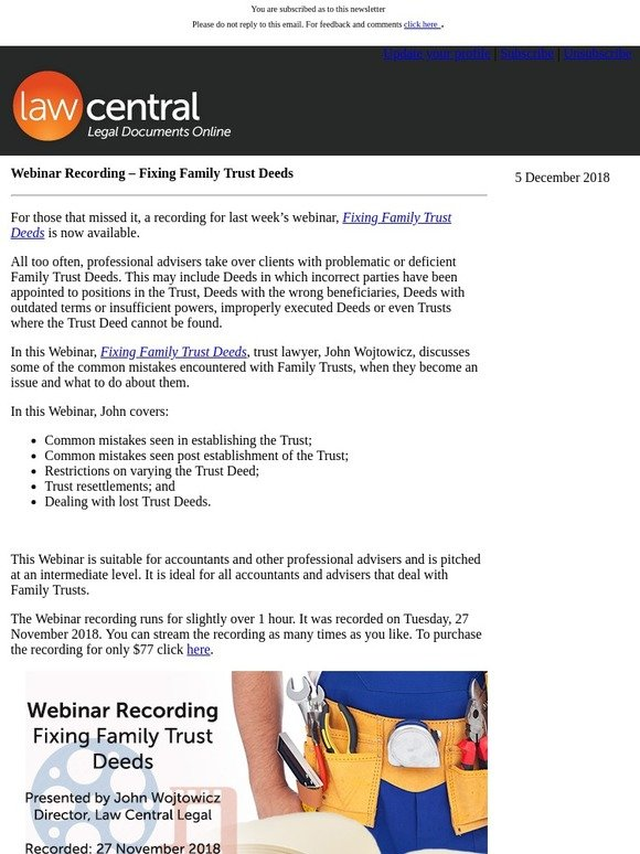 LawCentral Online Australian Legal Doc Shop: Webinar Recording