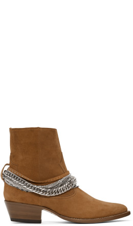 Amiri - Brown Suede Western Chain Boots