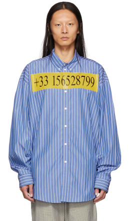 Balenciaga - Blue College Stripe Number Shirt