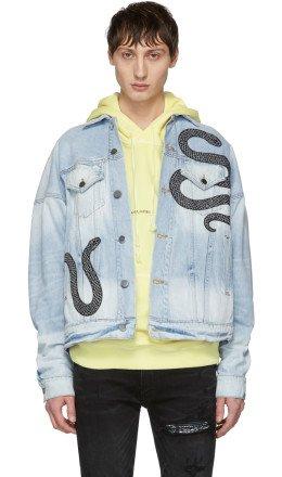 Amiri - Indigo Denim Glitter Snake Oversized Trucker Jacket