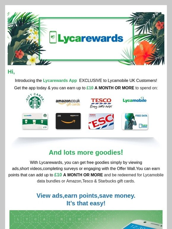 Lycamobile: EARN UP TO £10 A MONTH OR MORE WITH LYCAREWARDS | Milled
