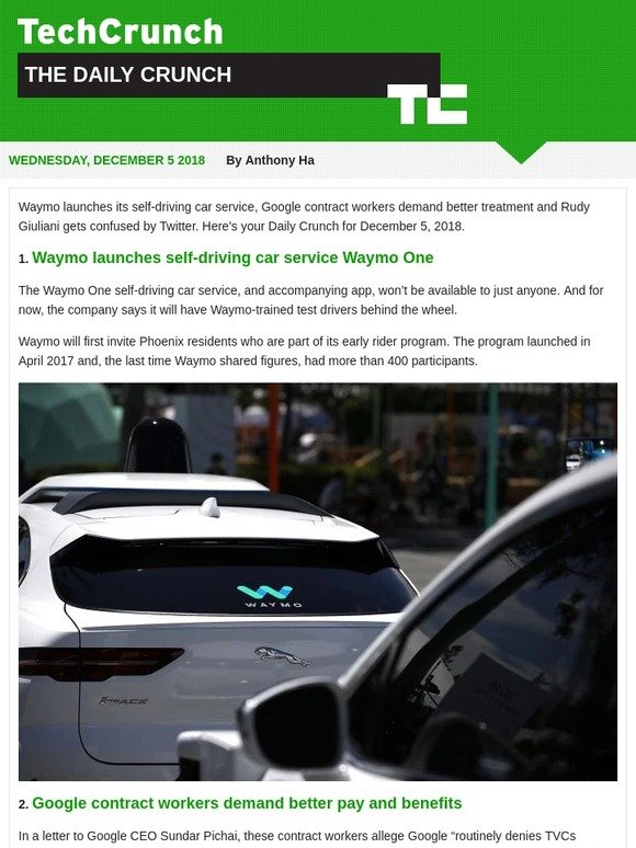 TechCrunch: Waymo launches its self-driving taxi service