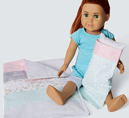 Kids' Quilted Doll Sleeping Bag.
