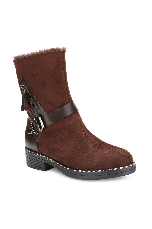 McGrath Fur Top Trim Buckle Strap Boots in Brown
