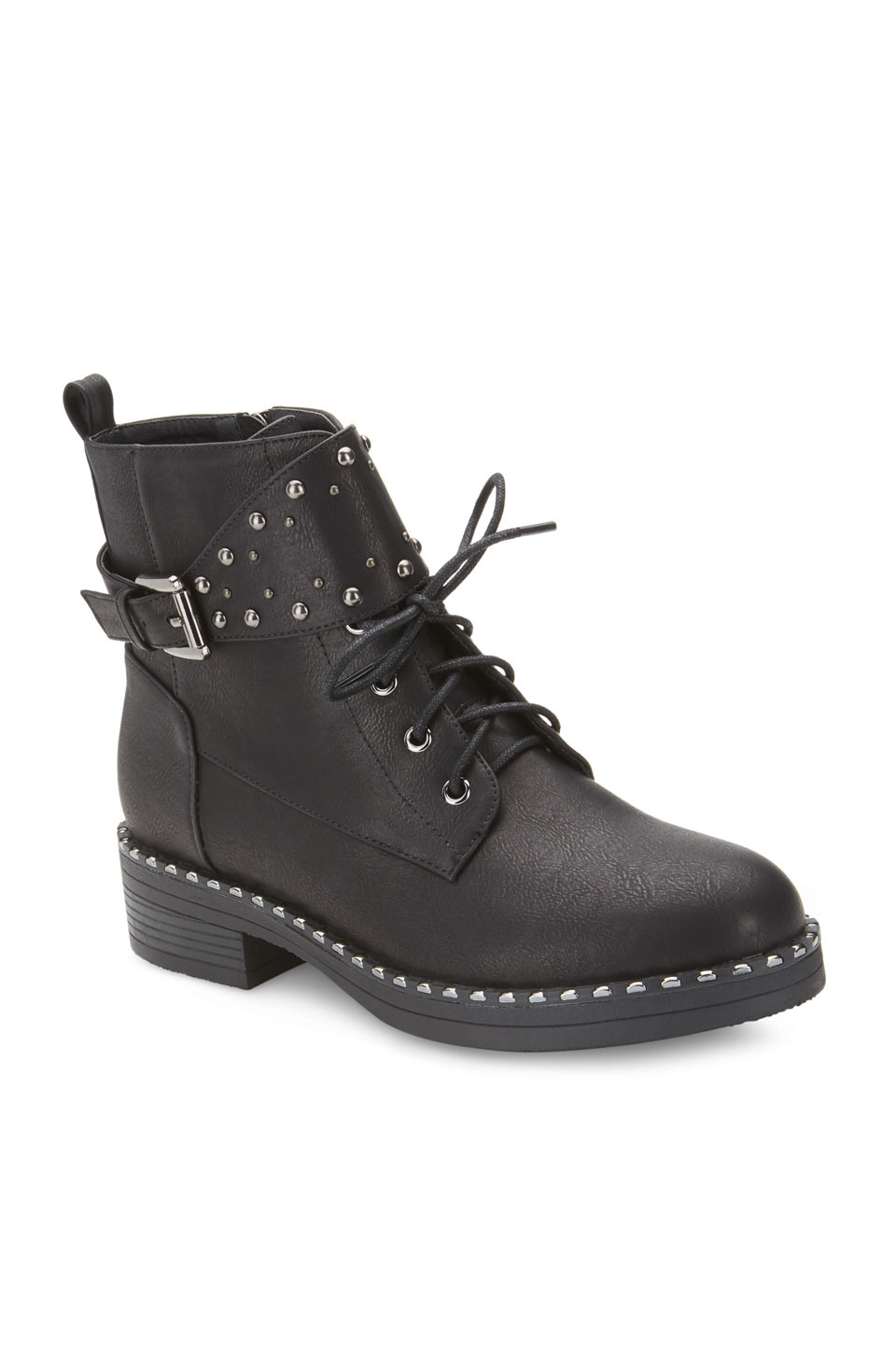 Marshall Front Flap Embellished Buckle Combat Boots in Black