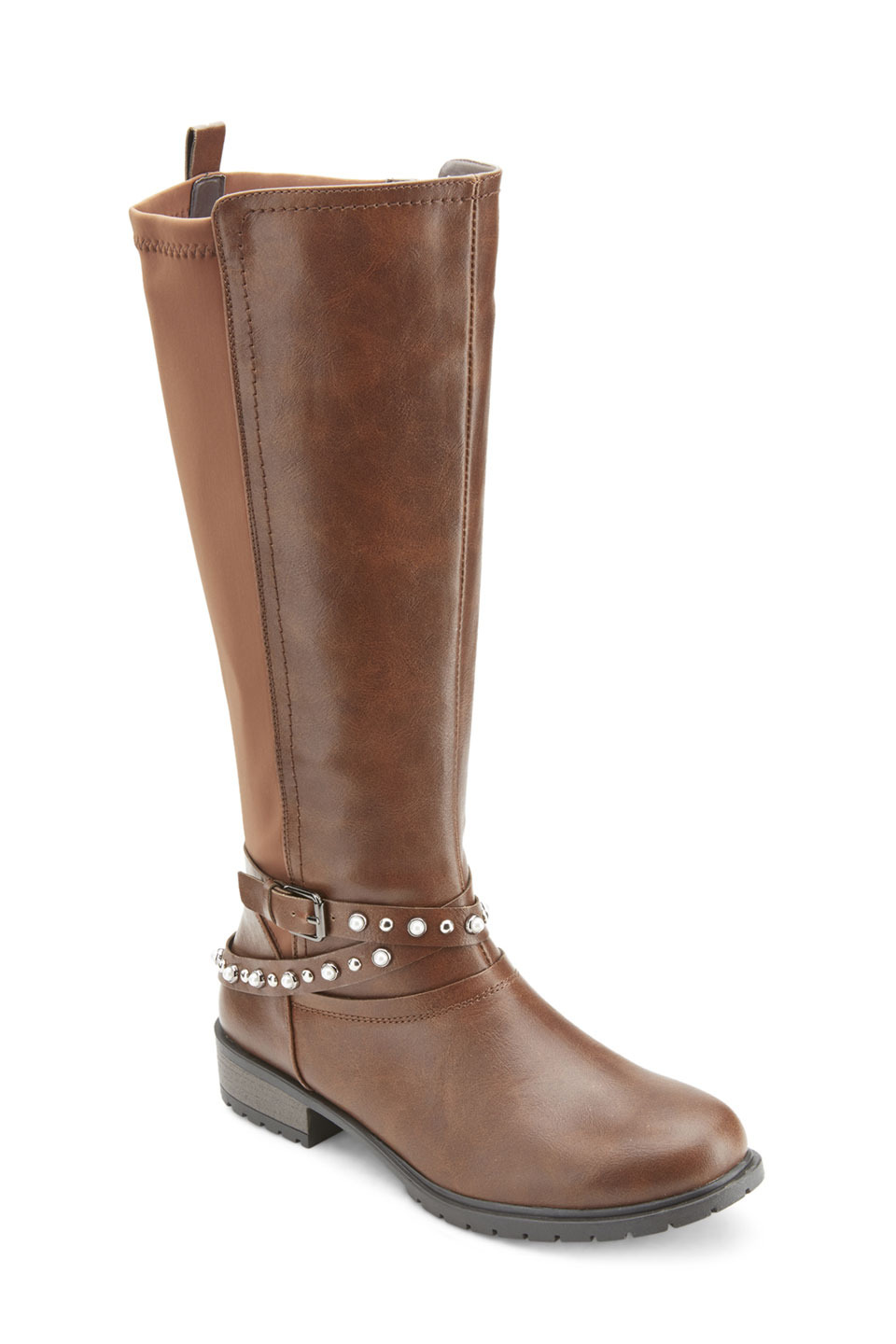 Coffman Back Stretch Pearl Studded Riding Boots in Cognac