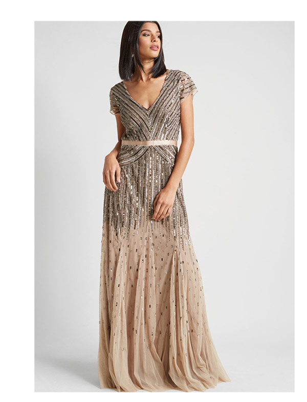 Adrianna Papell Orchestral Opening Maxi Dress