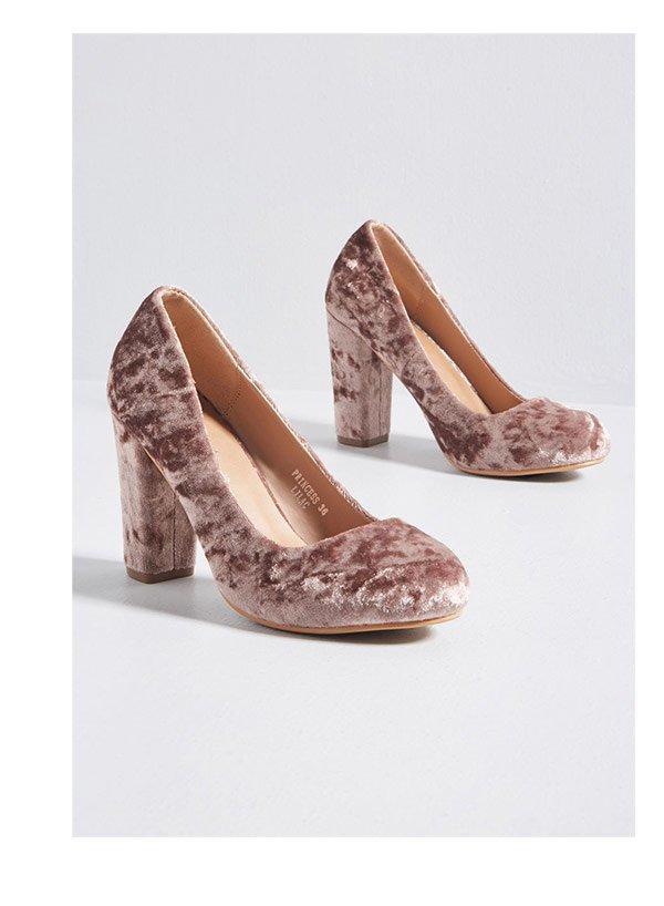 Outgoing Glam Velvet Heel