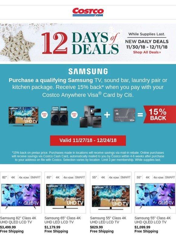Costo: Holiday Savings on Samsung TVs, Appliances
