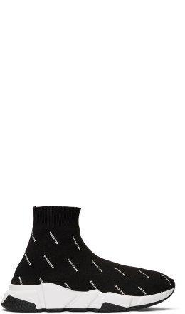 Balenciaga - Black All-Over Logo Speed Sneakers
