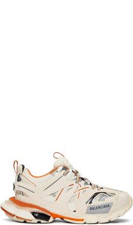Balenciaga - Off-White & Orange Track Runners Sneakers