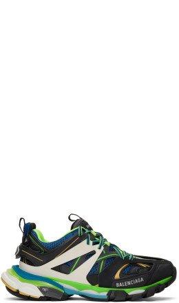 Balenciaga - Black & Blue Track Runners Sneakers