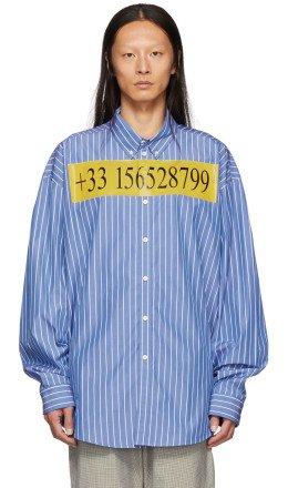 Balenciaga - Blue College Stripe Number Shirt